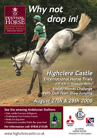 Poster for the Highclere Castle Horse Trials, on 27th - 28th August 2006